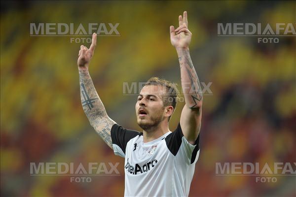 Denis Alibec de la Astra Giurgiu isi manifesta bucuria, vineri 1 Aprilie 2016, dupa ce a inscris impotriva echipei Dinamo, intr-o partida contand pentru Etapa a 4-a a Play Off-ului Ligii I la fotbal. ALEXANDRU DOBRE / MEDIAFAX FOTO