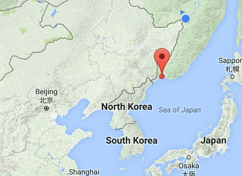 In punctul albastru m-am trezit. In punctul rosu e destinatia, Vladivostok